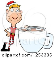 Clipart Of A Happy Man Christmas Elf With A Giant Cup Of Hot Chocolate Royalty Free Vector Illustration by Cory Thoman