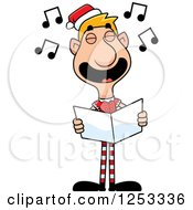 Clipart Of A Happy Man Christmas Elf Singing Carols Royalty Free Vector Illustration