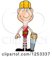 Clipart Of A Happy Man Christmas Elf Builder With Tools Royalty Free Vector Illustration by Cory Thoman