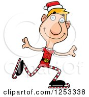 Clipart Of A Happy Man Christmas Elf Ice Skating Royalty Free Vector Illustration by Cory Thoman