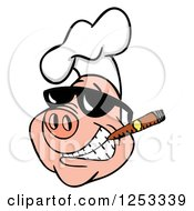Grinning Pig In A Chefs Hat And Sunglasses Smoking A Cigar