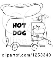 Clipart Of A Black And White Man Driving A Hot Dog Food Vendor Truck Royalty Free Vector Illustration by Hit Toon