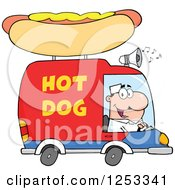 Clipart Of A White Man Driving A Hot Dog Food Vendor Truck Royalty Free Vector Illustration by Hit Toon
