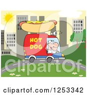 Clipart Of A White Man Driving A Hot Dog Food Vendor Truck In A City Royalty Free Vector Illustration by Hit Toon