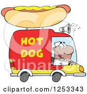 Clipart Of A Black Man Driving A Hot Dog Food Vendor Truck Royalty Free Vector Illustration by Hit Toon
