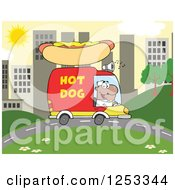 Clipart Of A Black Man Driving A Hot Dog Food Vendor Truck In A City Royalty Free Vector Illustration by Hit Toon