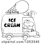 Clipart Of A Black And White Man Driving An Ice Cream Food Vendor Truck Royalty Free Vector Illustration by Hit Toon
