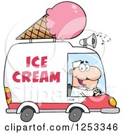 Clipart Of A White Man Driving An Ice Cream Food Vendor Truck Royalty Free Vector Illustration by Hit Toon