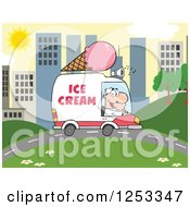 Clipart Of A White Man Driving An Ice Cream Food Vendor Truck In A City Royalty Free Vector Illustration by Hit Toon