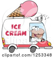 Clipart Of A Black Man Driving An Ice Cream Food Vendor Truck Royalty Free Vector Illustration