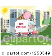 Clipart Of A Black Man Driving An Ice Cream Food Vendor Truck In A City Royalty Free Vector Illustration by Hit Toon