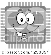 Happy Grayscale Microchip Character