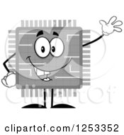 Happy Grayscale Microchip Character Waving