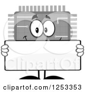 Happy Grayscale Microchip Character Holding A Blank Sign