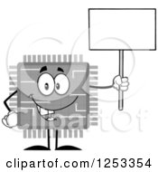 Happy Grayscale Microchip Character Holding Up A Blank Sign