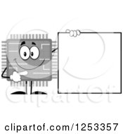 Happy Grayscale Microchip Character Pointing To A Blank Sign