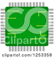 Clipart Of A Green Microchip Royalty Free Vector Illustration