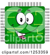 Clipart Of A Happy Microchip Character Royalty Free Vector Illustration