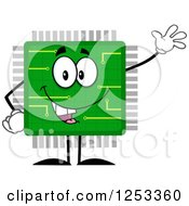 Clipart Of A Happy Microchip Character Waving Royalty Free Vector Illustration