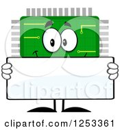Clipart Of A Happy Microchip Character Holding A Blank Sign Royalty Free Vector Illustration