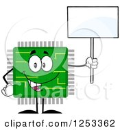 Clipart Of A Happy Microchip Character Holding Up A Blank Sign Royalty Free Vector Illustration