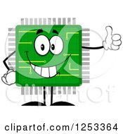 Clipart Of A Happy Microchip Character Holding A Thumb Up Royalty Free Vector Illustration