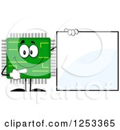 Clipart Of A Happy Microchip Character Pointing To A Blank Sign Royalty Free Vector Illustration