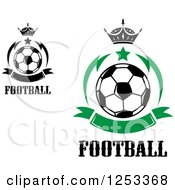 Soccer Balls With Crowns Stars And Green Banners