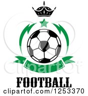 Soccer Ball With A Crown Star Green Banner And Football Text