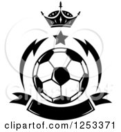 Clipart Of A Black And White Soccer Ball With A Crown Star And Banner Royalty Free Vector Illustration by Vector Tradition SM