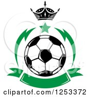 Soccer Ball With A Crown Star And Green Banner