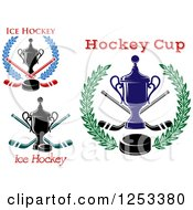 Clipart Of Championship Trophies With Hockey Sticks Pucks Wreaths And Text Royalty Free Vector Illustration