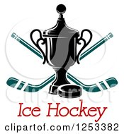 Clipart Of A Championship Trophy With Crossed Hockey Sticks And A Puck With Text Royalty Free Vector Illustration