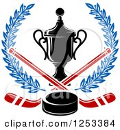 Clipart Of A Championship Trophy With Hockey Sticks And A Puck In A Blue Wreath Royalty Free Vector Illustration by Vector Tradition SM