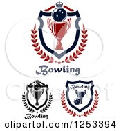 Clipart Of Bowling Balls And Championship Trophy Shields With Crowns Laurels And Text Royalty Free Vector Illustration
