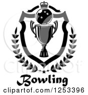 Clipart Of A Black And White Bowling Ball And Championship Trophy Shield With A Crown And Laurel Over Text Royalty Free Vector Illustration