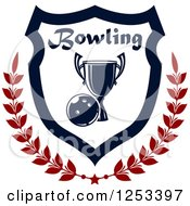 Clipart Of A Bowling Ball And Championship Trophy Shield With A Laurel And Text Royalty Free Vector Illustration