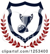 Clipart Of A Bowling Ball And Championship Trophy Shield With A Laurel Royalty Free Vector Illustration