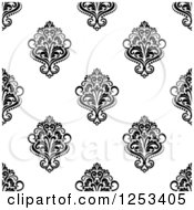 Clipart Of A Seamless Background Pattern Of Black And White Damask Royalty Free Vector Illustration