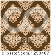 Clipart Of A Seamless Background Pattern Of Tan Damask On Brown Royalty Free Vector Illustration