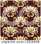 Clipart Of A Seamless Background Pattern Of Yellow Damask On Brown Royalty Free Vector Illustration