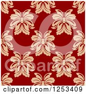 Clipart Of A Seamless Background Pattern Of Tan Damask On Red Royalty Free Vector Illustration
