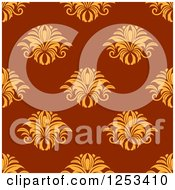 Clipart Of A Seamless Background Pattern Of Yellow Damask On Red Royalty Free Vector Illustration