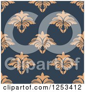 Clipart Of A Seamless Background Pattern Of Tan Damask On Blue Royalty Free Vector Illustration