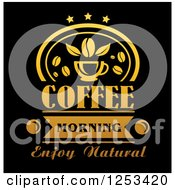 Clipart Of A Gold And Black Coffee Morning Enjoy Natural Design Royalty Free Vector Illustration