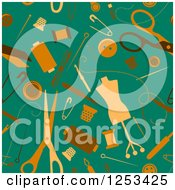 Clipart Of A Seamless Background Pattern Of Dressmaker Items Royalty Free Vector Illustration
