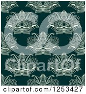 Clipart Of A Seamless Background Pattern Of Henna Lotus Flowers Royalty Free Vector Illustration