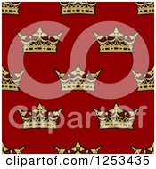 Clipart Of A Seamless Background Pattern Of Gold Crowns Over Red Royalty Free Vector Illustration