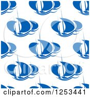 Clipart Of A Seamless Background Pattern Of Blue Sailboats Royalty Free Vector Illustration