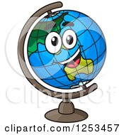 Clipart Of A Happy Desk Globe Royalty Free Vector Illustration